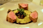 Roasted pork tenderloin with goat cheese polenta, button mushrooms, fried sage, and a Zinfandel glaze. AKA Best Meal Ever(tm).