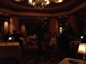 The photo is a bit dark, but you can get a sense of the dining room's coziness.
